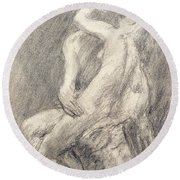 A Study Of Rodin's Kiss In His Studio Round Beach Towel