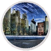 A Stylized Look At Chicago's Crown Fountain In The Winter Round Beach Towel