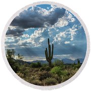 Round Beach Towel featuring the photograph A Summer Day In The Sonoran  by Saija Lehtonen