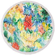 A Summer Garden Frolic Round Beach Towel by Esther Newman-Cohen