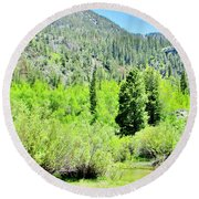 A Summer In The Mountains Round Beach Towel by Marilyn Diaz