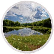Round Beach Towel featuring the photograph A Summer Morning At The Bridge by David Patterson