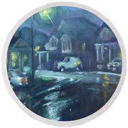 A Summer Rainy Night Round Beach Towel by Ylli Haruni