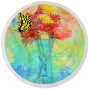 A Summer Time Bouquet Round Beach Towel by Diane Schuster