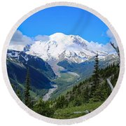 Round Beach Towel featuring the photograph A Summer View Of The Mountain  by Lynn Hopwood