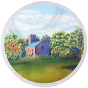 Round Beach Towel featuring the painting A Summer's Day by Elizabeth Lock