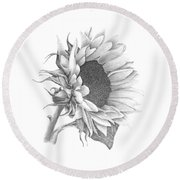 A Sunflowers Beauty Round Beach Towel by Patricia Hiltz