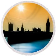 A Sunny Shape Round Beach Towel by Giuseppe Torre