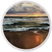 A Sunrise Over Kitty Hawk Round Beach Towel by Linda Mesibov