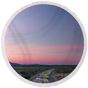Round Beach Towel featuring the photograph A Sunrise Path by Leland D Howard