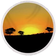 A Sunset In Namibia Round Beach Towel by Ernie Echols