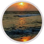 Round Beach Towel featuring the photograph A Sunset To Remember by Lori Seaman