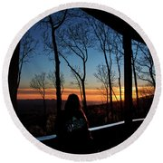 A Sunset View Round Beach Towel