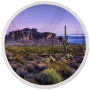 A Superstitious Evening  Round Beach Towel