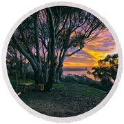 A Swinging Sunset From The Secret Swings Of La Jolla Round Beach Towel