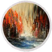 Round Beach Towel featuring the painting A Tale Of Two Cities by Tatiana Iliina