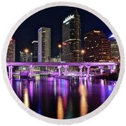 A Tampa Night Round Beach Towel by Frozen in Time Fine Art Photography