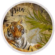 A Taste Of Africa Tiger Round Beach Towel by Mindy Sommers