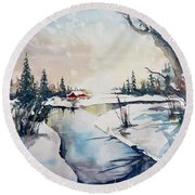 A Taste Of Winter Round Beach Towel