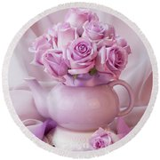 A Tea Pot Of Lavender Pink Roses  Round Beach Towel