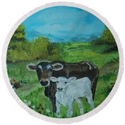 Round Beach Towel featuring the painting A Tender Love by Leslie Allen