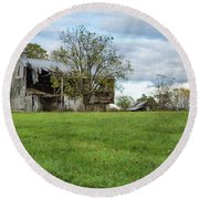 Round Beach Towel featuring the photograph A Tired Old Barn by John M Bailey