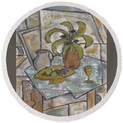A Toast To Tranquility Round Beach Towel