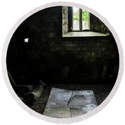 Round Beach Towel featuring the photograph A Tombstone In Sligo Abbey by RicardMN Photography