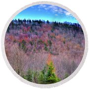 Round Beach Towel featuring the photograph A Touch Of Autumn by David Patterson