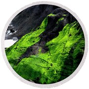 Round Beach Towel featuring the photograph A Touch Of Green by Jerry Sodorff