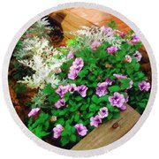 Round Beach Towel featuring the painting A Touch Of Nature by Sandy MacGowan