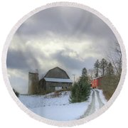 Round Beach Towel featuring the photograph A Touch Of Snow by Sharon Batdorf