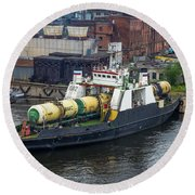 Round Beach Towel featuring the photograph A Train Ferry In St Petersburg Carrying Freight by Clare Bambers
