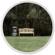 A Trash Can And Wooden Benches In A Small Grassy Area Round Beach Towel