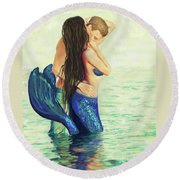 Round Beach Towel featuring the painting A Treasured Love by Leslie Allen