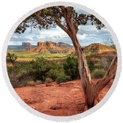 A Tree In Sedona Round Beach Towel by James Eddy