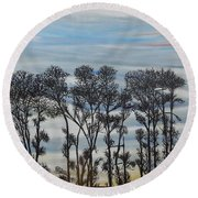 Round Beach Towel featuring the painting A Treeline Silhouette by Marilyn  McNish