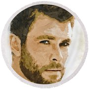A Tribute To Chris Hemsworth Round Beach Towel