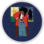 A Tribute To Jean-michel Basquiat Round Beach Towel