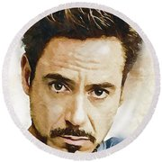 A Tribute To Robert Downey Jr. Round Beach Towel