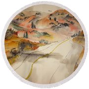 a trip to Lewistown  in Autumn  album Round Beach Towel by Debbi Saccomanno Chan