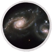A Triplet Of Galaxies Known As Arp 274 Round Beach Towel