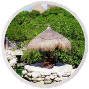 Round Beach Towel featuring the photograph A Tropical Place To Relax by Francesca Mackenney