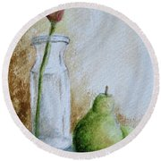 A Tulip And Two Pears Round Beach Towel