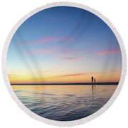 A Twilight Beach Walk Round Beach Towel