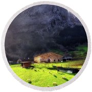 A Typical Basque Country Farmhouse With Sheep Round Beach Towel