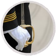 A U.s. Naval Academy Midshipman Stands Round Beach Towel