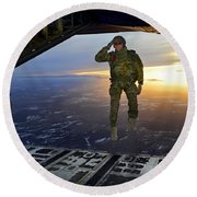Round Beach Towel featuring the photograph A U.s. Soldier Salutes His Fellow by Stocktrek Images