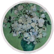 A Vase Of Roses Round Beach Towel