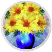 Round Beach Towel featuring the painting A Vase Of Sunflowers by Valerie Anne Kelly